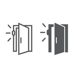 Door sensor line and glyph icon access security vector