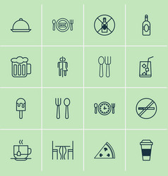 Eating icons set collection of sorbet stop smoke vector