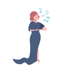 elegant woman opera singer in blue dress singing vector image