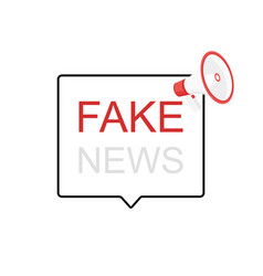 Fake news megaphone label loudspeaker vector