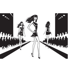 Fashion models at catwalk on review vector
