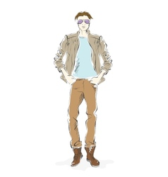 fashionable man sketch on a white background vector image