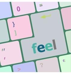 Feel word on keyboard key notebook computer vector