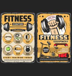 Fitness center gym equipment retro posters vector