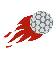 flaming golf ball icon isolated vector image