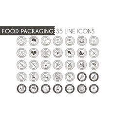 Food packaging line icon set vector