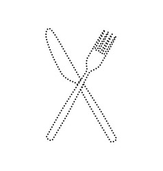fork and knife sign black dotted icon on vector image