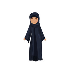 girl in traditional muslim dress female in black vector image