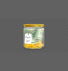 glass money box with pension fund dollars vector image
