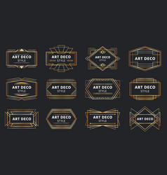 Golden art deco badges gold frame label vector