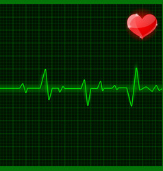 Green electrocardiogram waves with red heart vector
