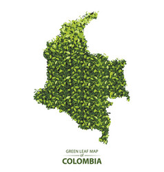Green leaf map colombia a vector