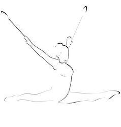 Gymnast with mace vector