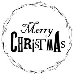 hand drawn christmas frame and printed text vector image