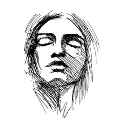 Hand sketch woman head vector