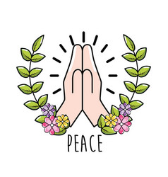 Hand with branch leaves and flowers to peace day vector