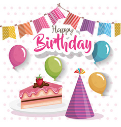 happy birthday cake portion with balloons air vector image