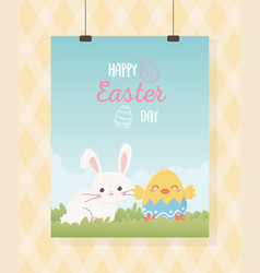 happy easter hanging card cute rabbit and chicken vector image