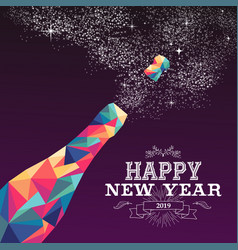 happy new year 2019 color triangle champagne vector image