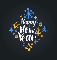 happy new year lettering on black background vector image