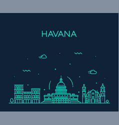 havana city skyline cuba linear style city vector image