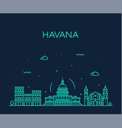havana city skyline cuba linear style city vector image