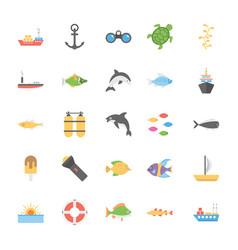 Icons pack of ocean and sea life vector