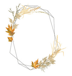 isolated autumn frame with leaves and grass vector image