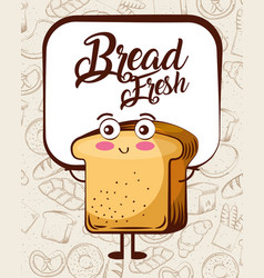 kawaii bread fresh cartoon bake background vector image