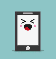kawaii smartphone facial expression vector image