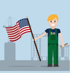 labor day cartoon vector image