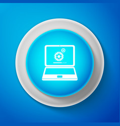 laptop update process with gearbox progress icon vector image