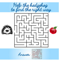 Logical task for children with a maze and hedgehog vector
