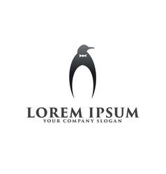 luxury penguin logo design concept template vector image