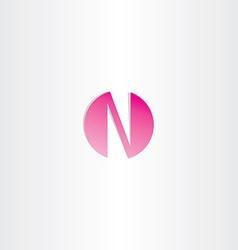 magenta letter n logotype design vector image