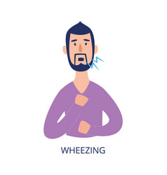 Man holding his chest and wheezing flat cartoon vector