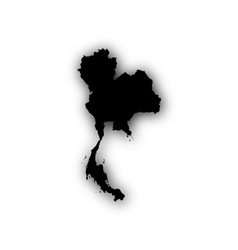 Map of Thailand with shadow vector
