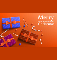 merry christmas gift concept banner realistic vector image
