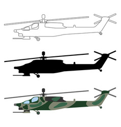 Military helicopter silhouette cartoon outline set vector