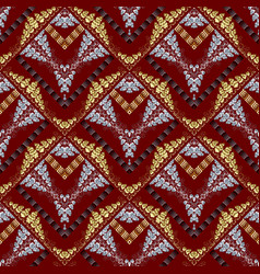 Modern abstract meanders seamless pattern red vector