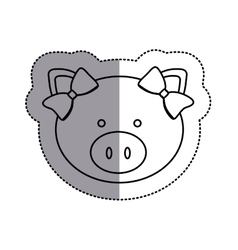 Monochrome contour sticker with female pig head vector