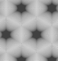 Monochrome striped hexagons forming black stars vector image