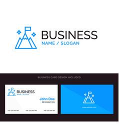 Mountain flag user interface blue business logo vector
