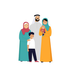 Muslim family in traditional wear vector
