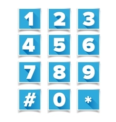 Number icon set square blue vector image
