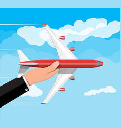 passenger or commercial jet in hand vector image