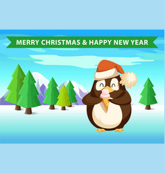 penguin in forest with ice cream christmas banner vector image