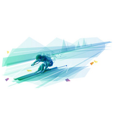 polygonal man slalom skiing vector image