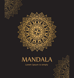 Poster with gold ornament mandala based on indian vector
