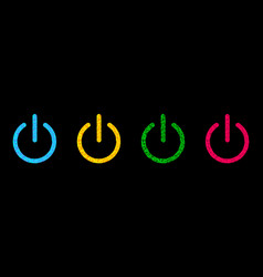 power button icon set line polygonal effect blue vector image
